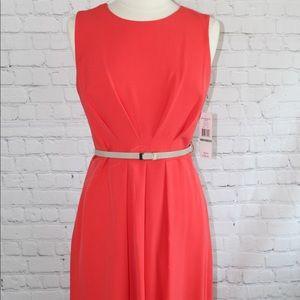 Women's orange Career Dress with Belt